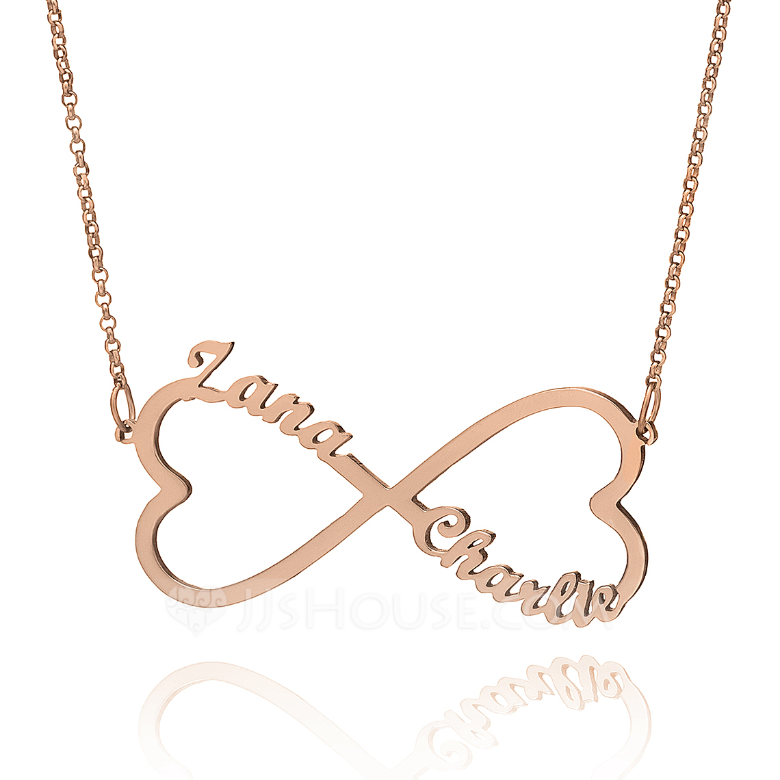 Custom 18k Rose Gold Plated Silver Infinity Two Name Necklace With Heart - Christmas Gifts