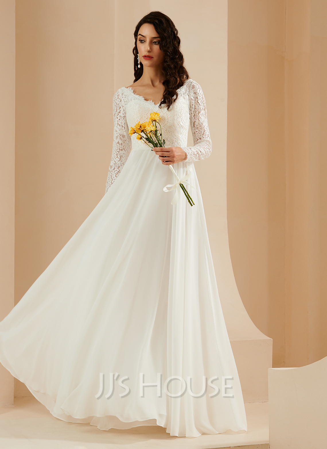 A-Line V-neck Sweep Train Wedding Dress With Lace