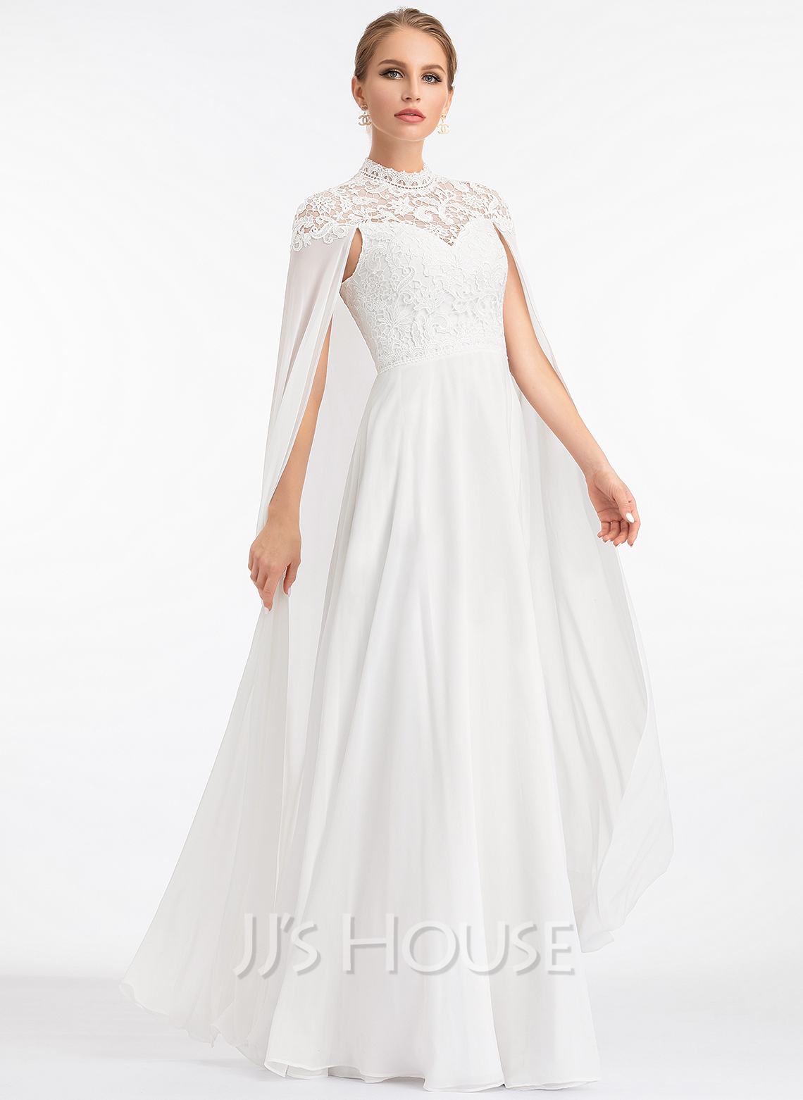 High Neck a Line Wedding Dress