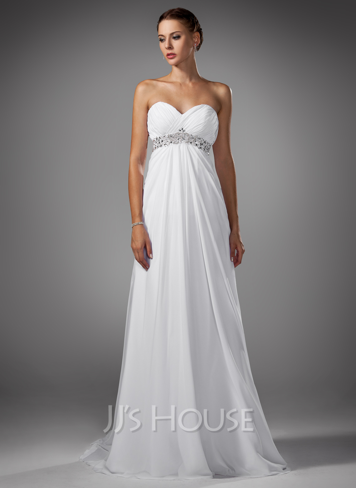Empire sweetheart sweep train chiffon wedding dress with for Jjshouse com wedding dresses
