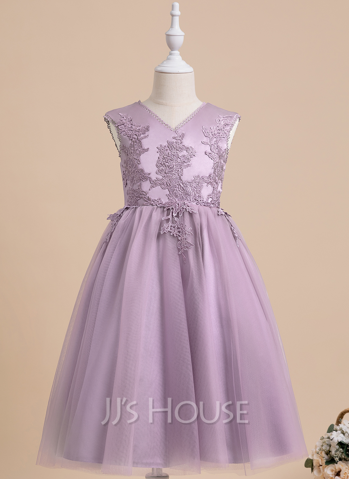 A-Line Ankle-length Flower Girl Dress - Sleeveless V-neck With Lace/V Back