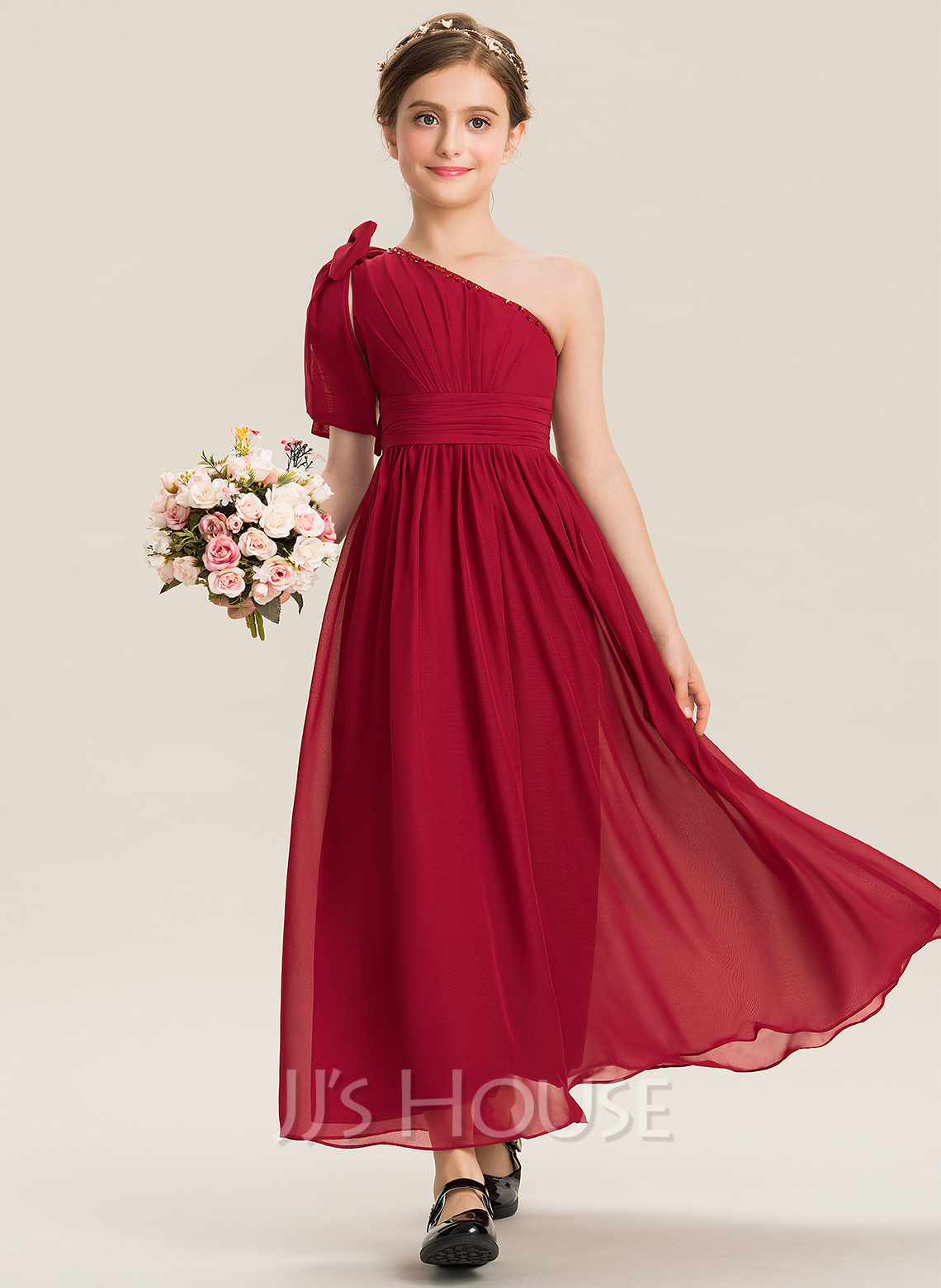 One-Shoulder Ankle-Length Chiffon Junior Bridesmaid Dress With Ruffle Beading Sequins Bow(s)