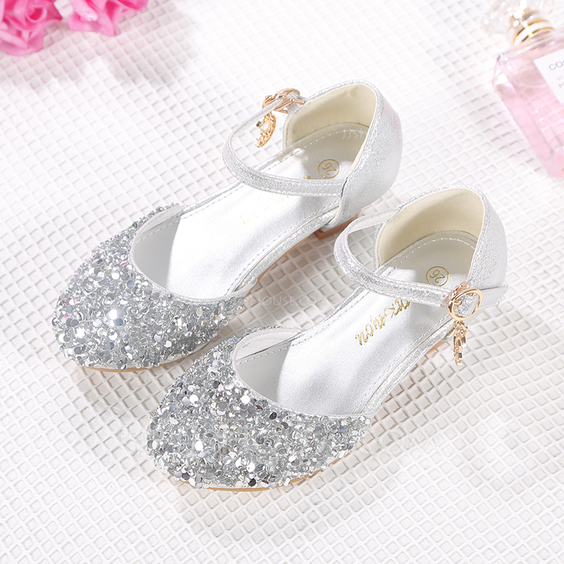 Girl Closed Toe Microfiber Leather Flower Girl Shoes With Buckle Rhinestone