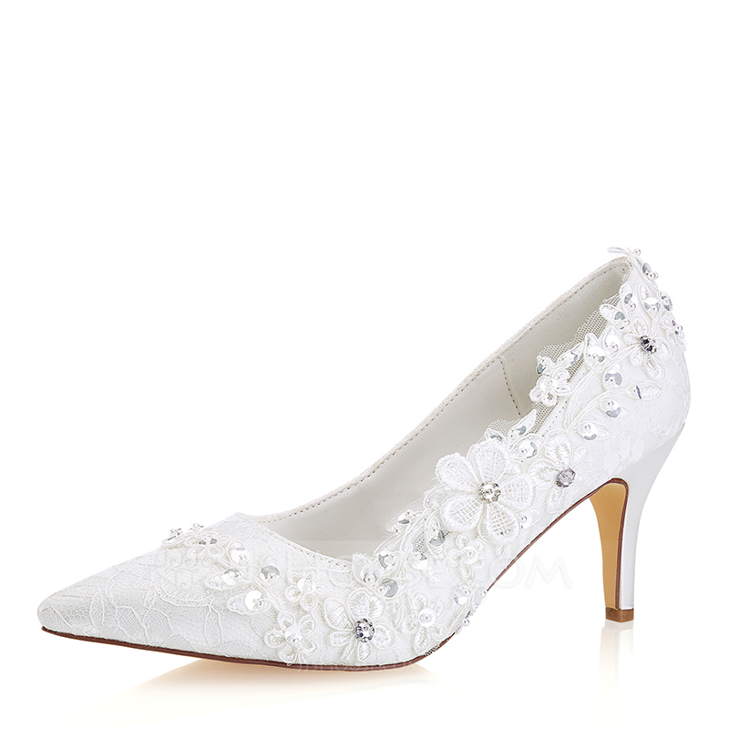 Women's Lace Silk Like Satin Stiletto Heel Pumps With Stitching Lace Crystal Pearl