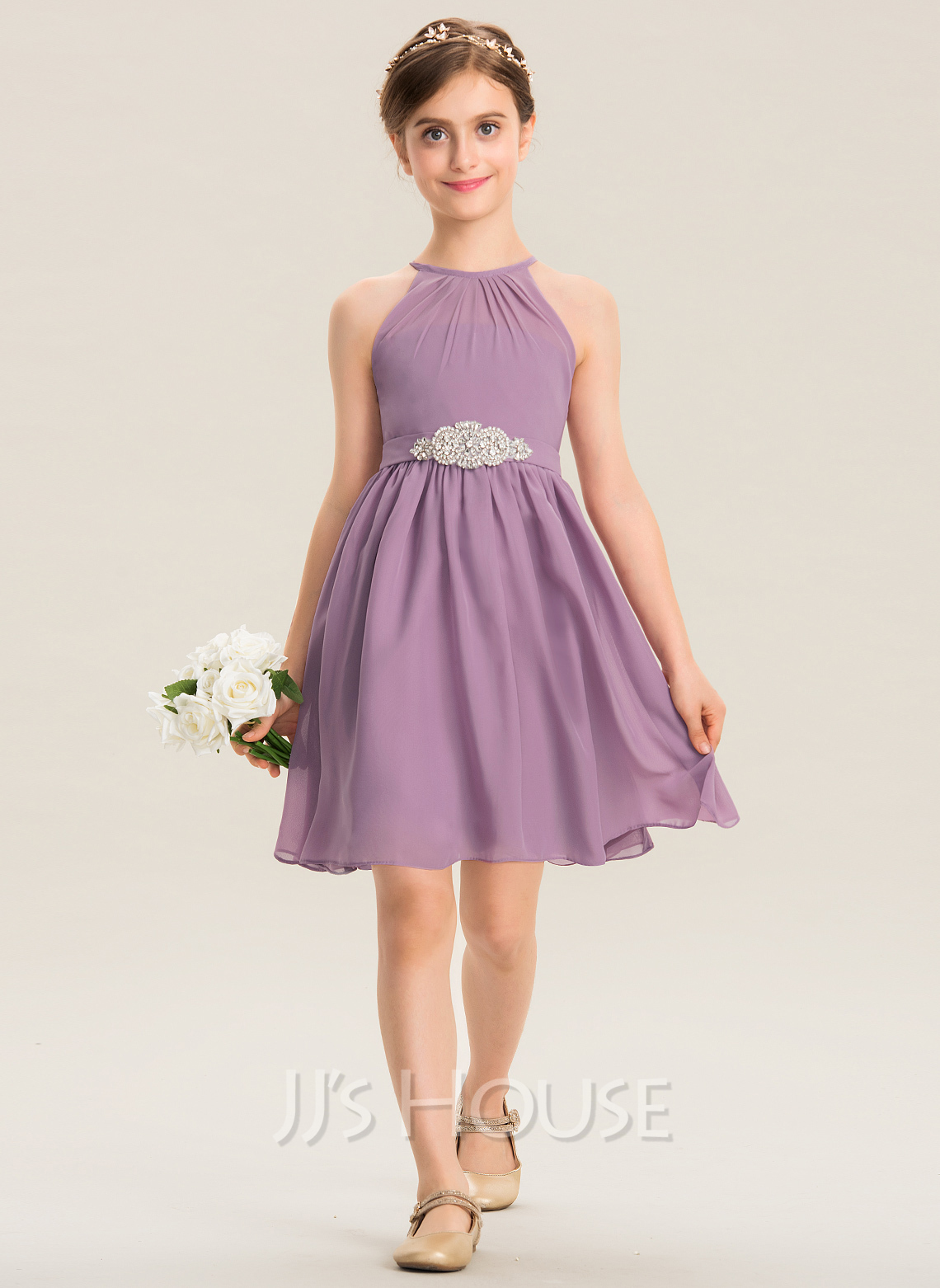 Scoop Neck Knee-Length Chiffon Junior Bridesmaid Dress With Ruffle Beading