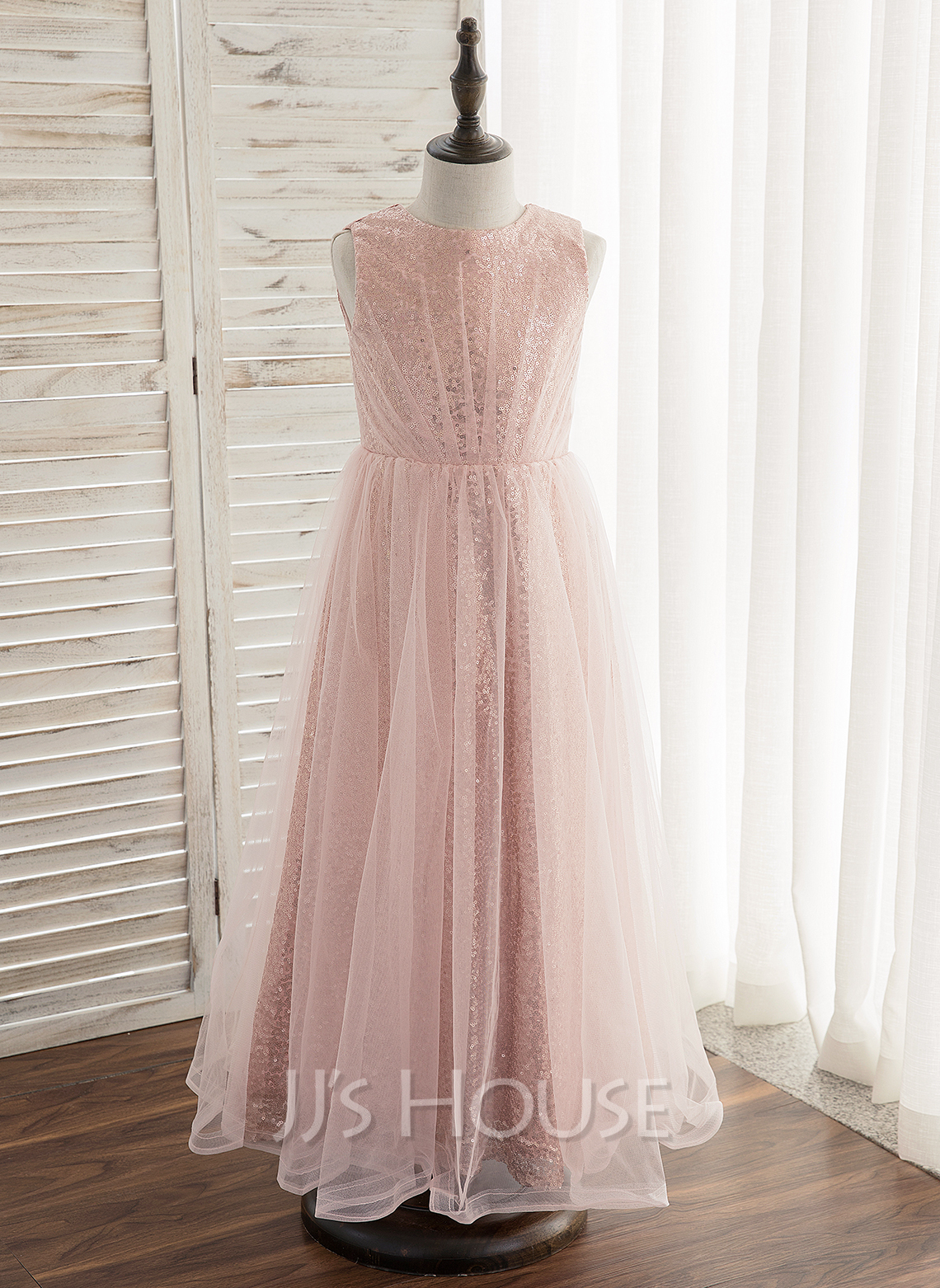 73c4e0cc7f3 A-Line Princess Ankle-length Flower Girl Dress - Tulle Sequined Sleeveless. Loading  zoom