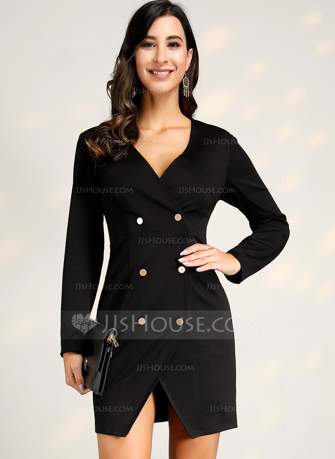 Polyester With Button/Solid/Slit Above Knee Dress