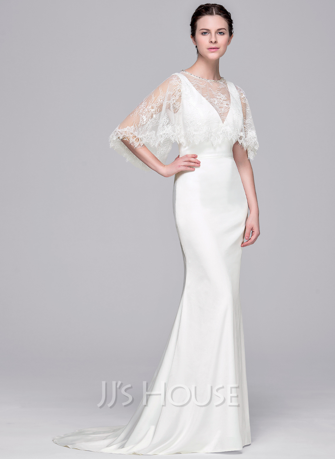 sheath column v neck sweep train satin wedding dress