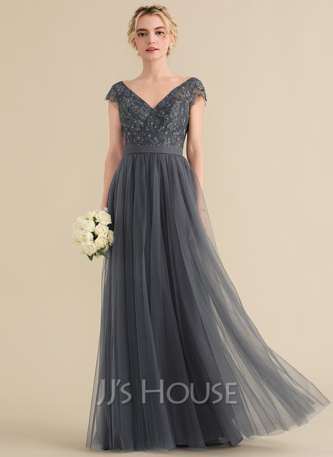 V-neck Floor-Length Tulle Lace Bridesmaid Dress With Beading Bow(s)
