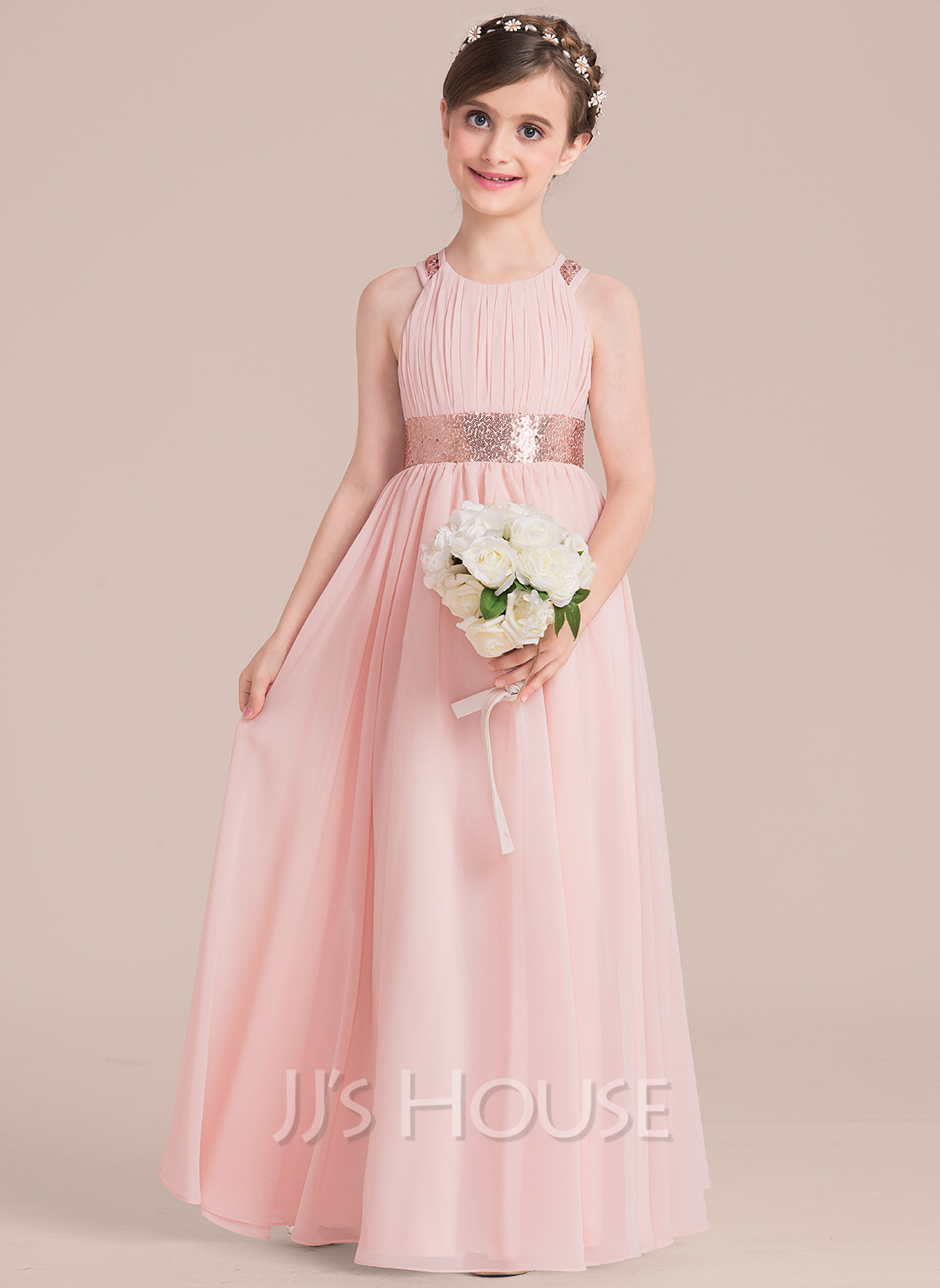 a6029ec8d33 A-Line Princess Floor-length Flower Girl Dress - Chiffon Sequined Sleeveless.  Loading zoom