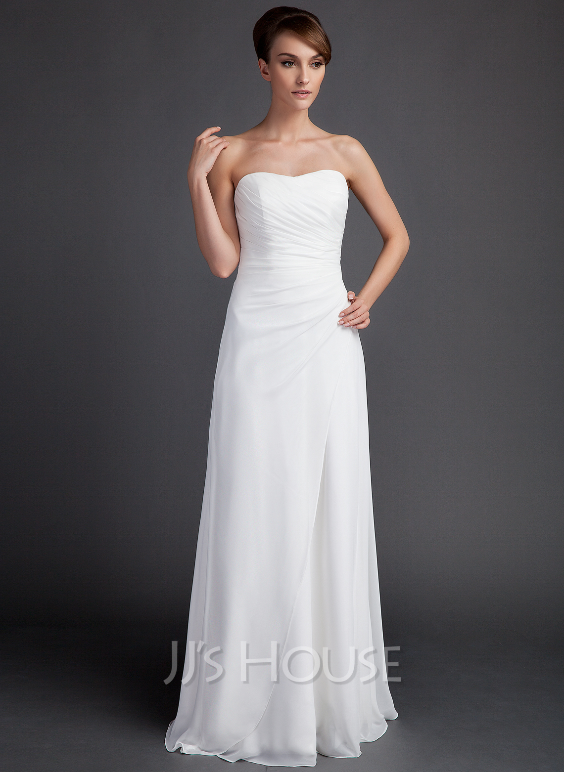 Sheath/Column Sweetheart Sweep Train Chiffon Wedding Dress With Ruffle