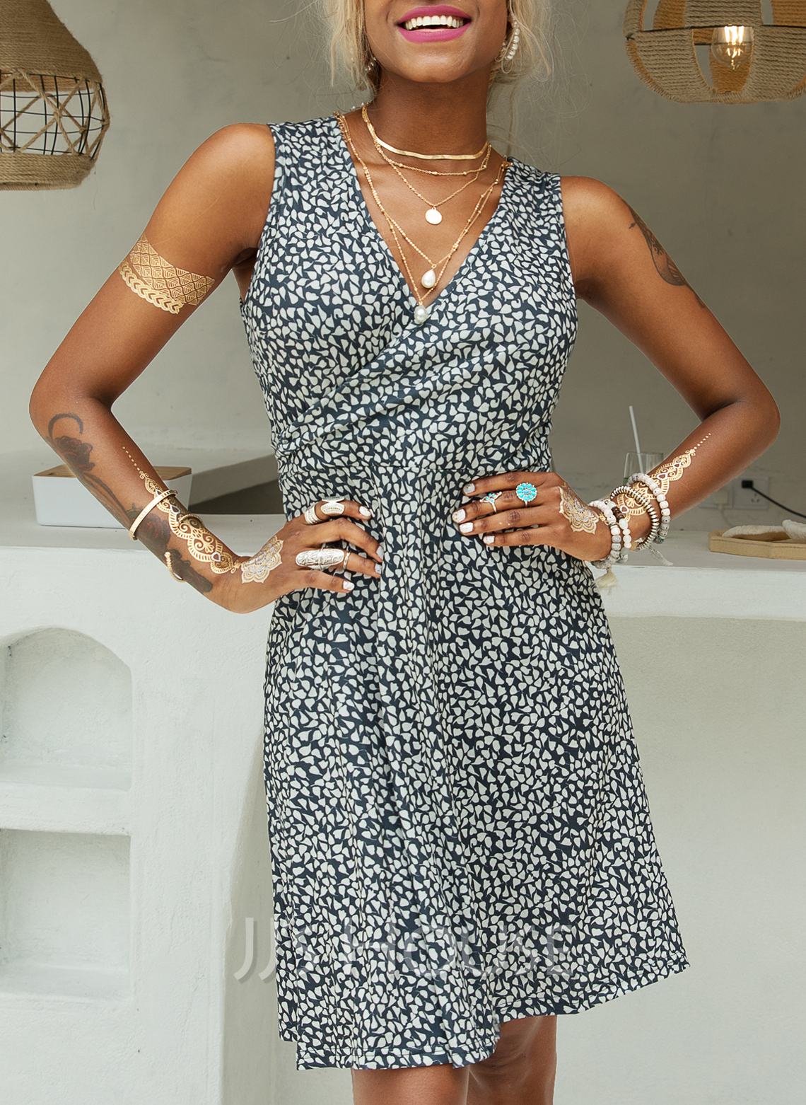 Print A-line V-Neck Sleeveless Midi Casual Vacation Skater Wrap Dresses