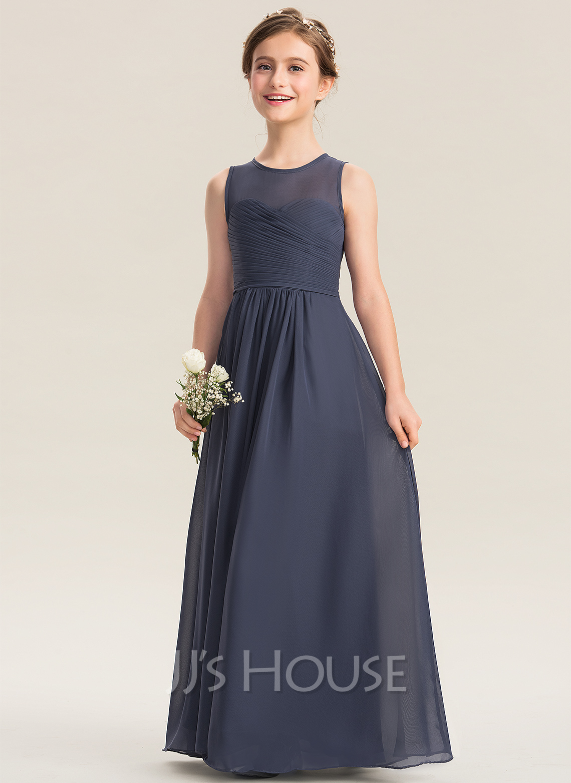 17aa66d7171b A-Line Scoop Neck Floor-Length Chiffon Junior Bridesmaid Dress With Ruffle. Loading  zoom