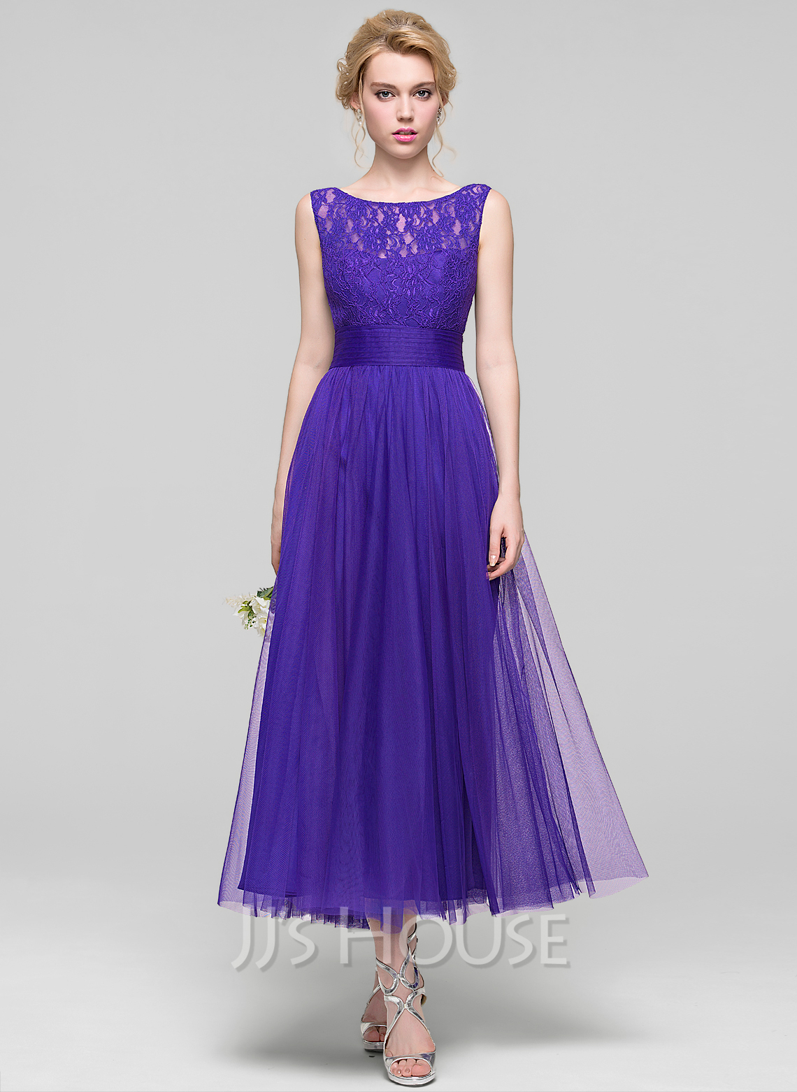 A lineprincess scoop neck ankle length tulle bridesmaid dress a lineprincess scoop neck ankle length tulle bridesmaid dress with ruffle loading zoom ombrellifo Gallery