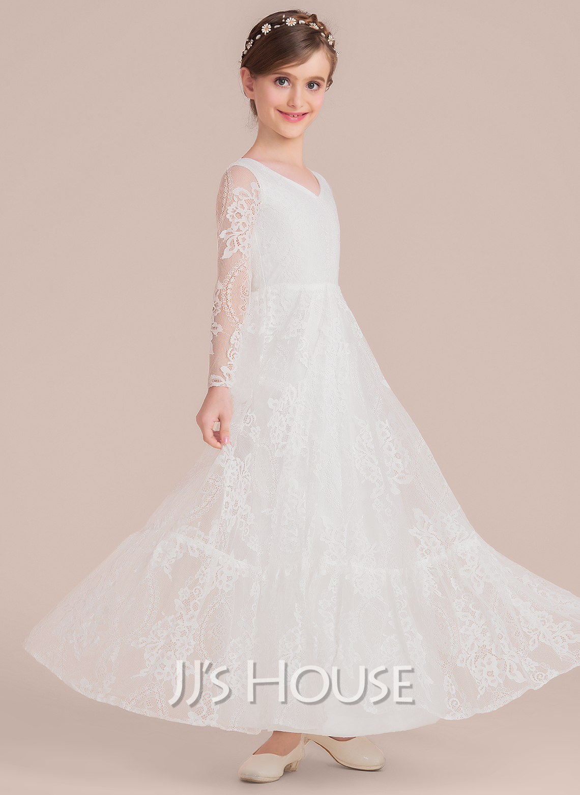 A-Line Floor-length Flower Girl Dress - Lace Long Sleeves V-neck