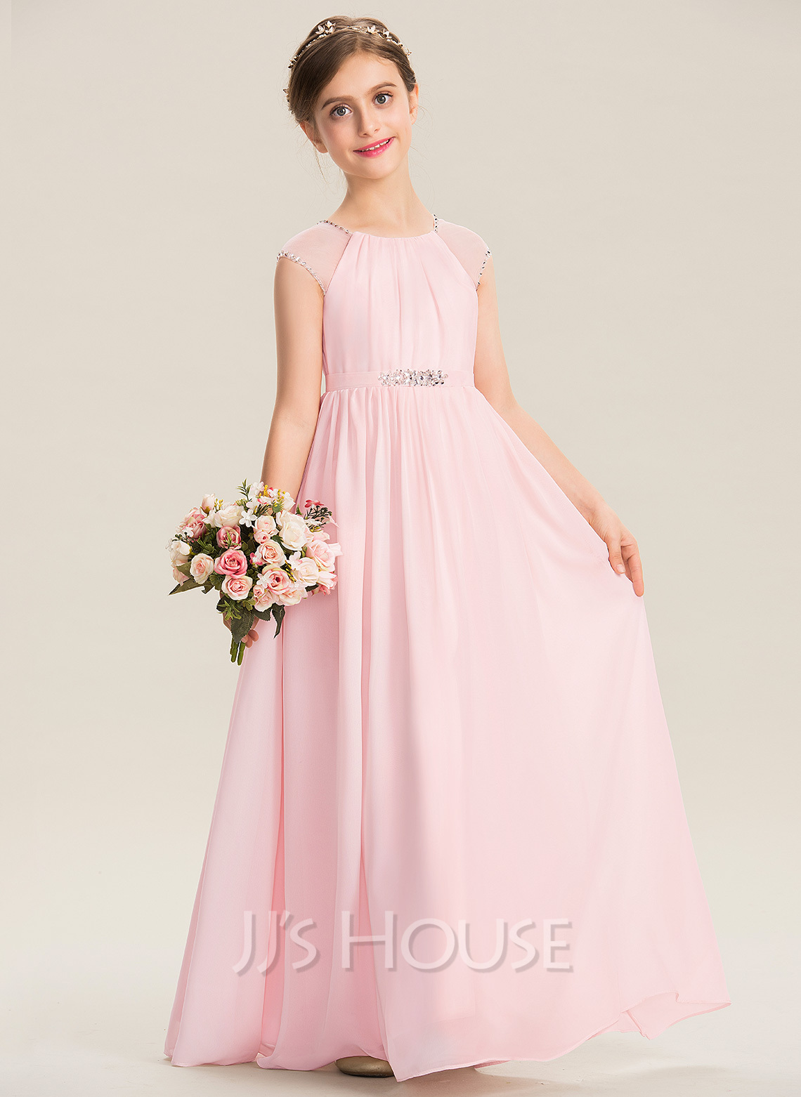68daf0dda5 A-Line Scoop Neck Floor-Length Chiffon Junior Bridesmaid Dress With Beading  Sequins (009173303)