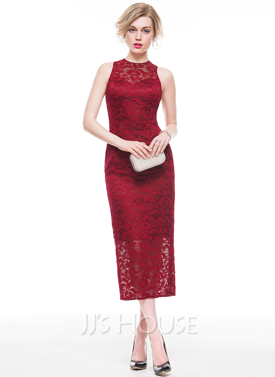 Sheath/Column Scoop Neck Tea-Length Lace Cocktail Dress (016083920 ...