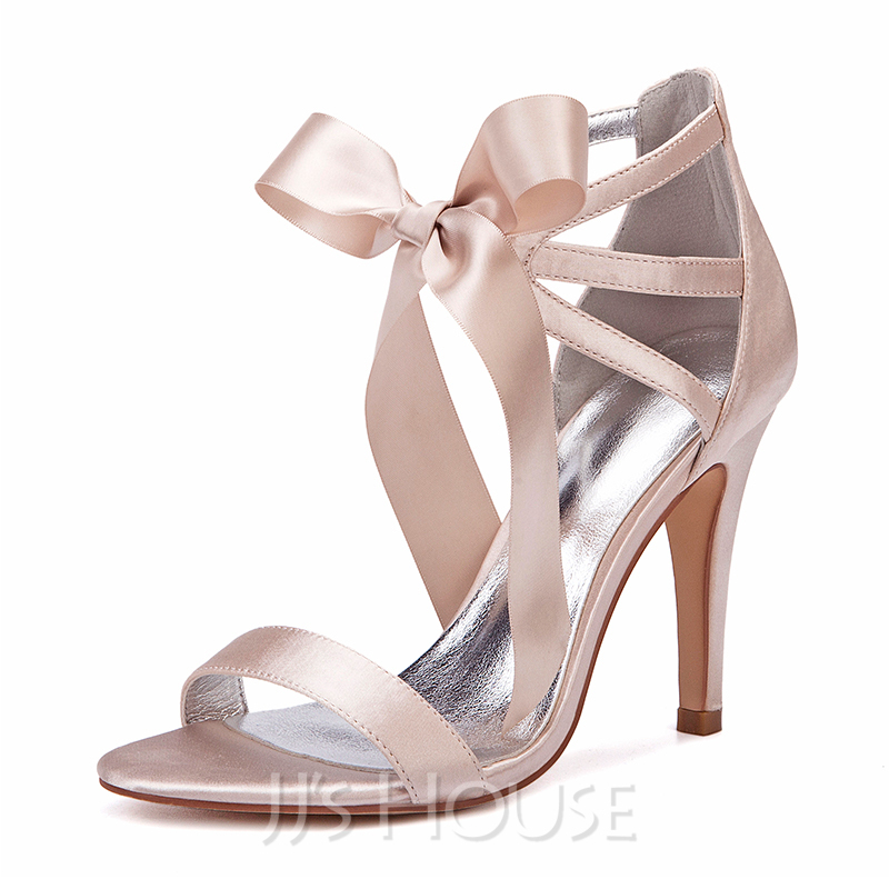 Women's Silk Like Satin Stiletto Heel Peep Toe Pumps Sandals With Bowknot Ribbon Tie Lace-up