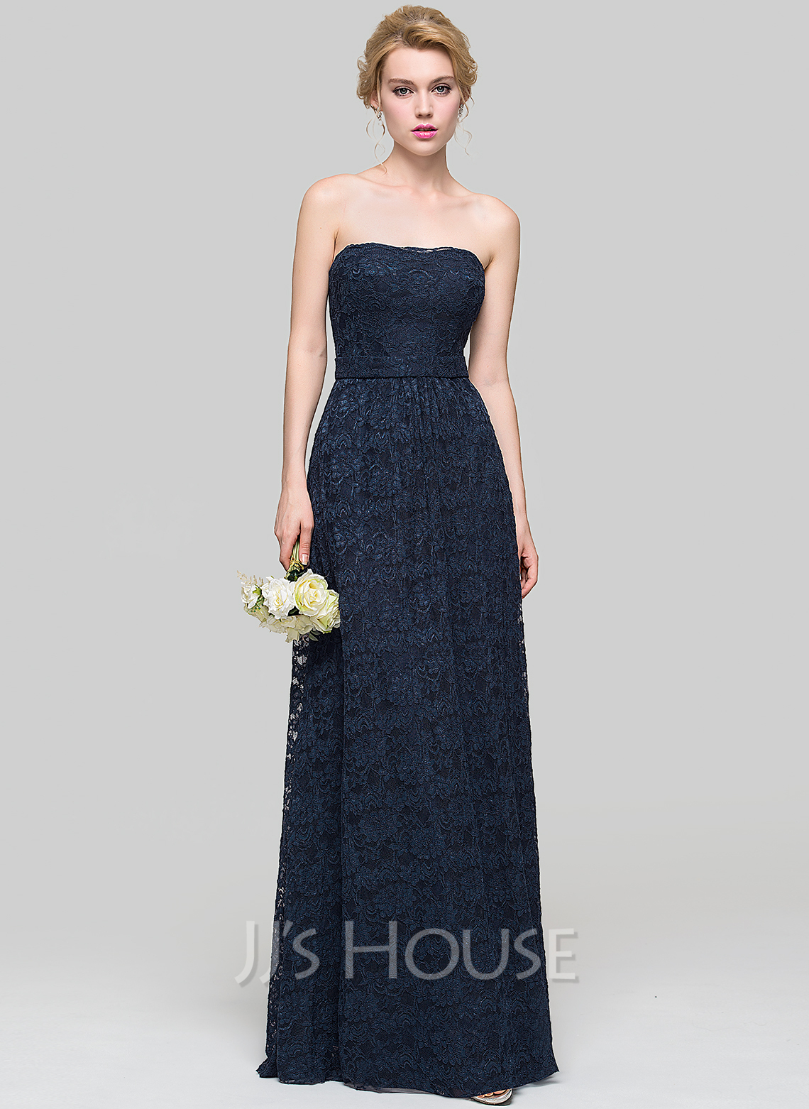 Strapless Floor-Length Lace Bridesmaid Dress