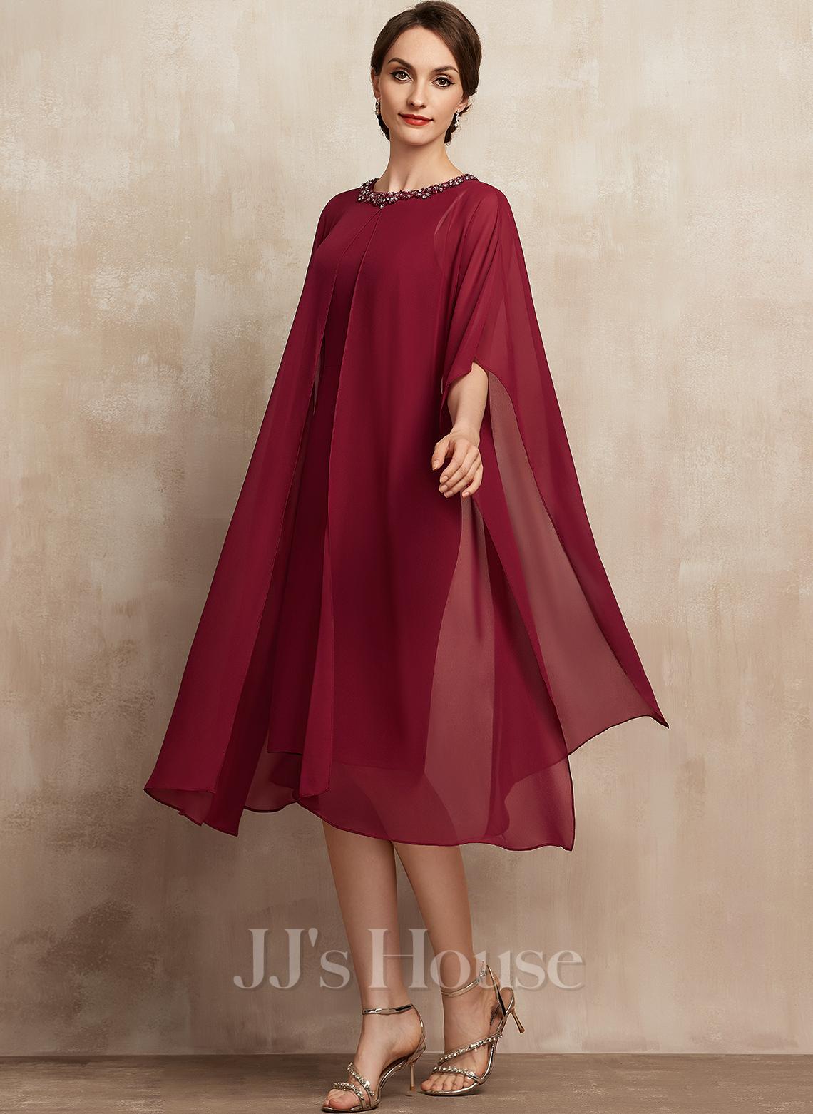 Çan Yuvarlak Yaka Diz Hizası Şifon Gelin Annesi Elbisesi Ile boncuklu kısım Payetler