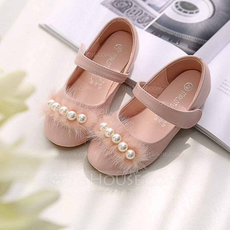 c728e52d55ae Girl s Round Toe Closed Toe Microfiber Leather Flat Heel Flats Flower Girl  Shoes With Stitching Lace. Loading zoom