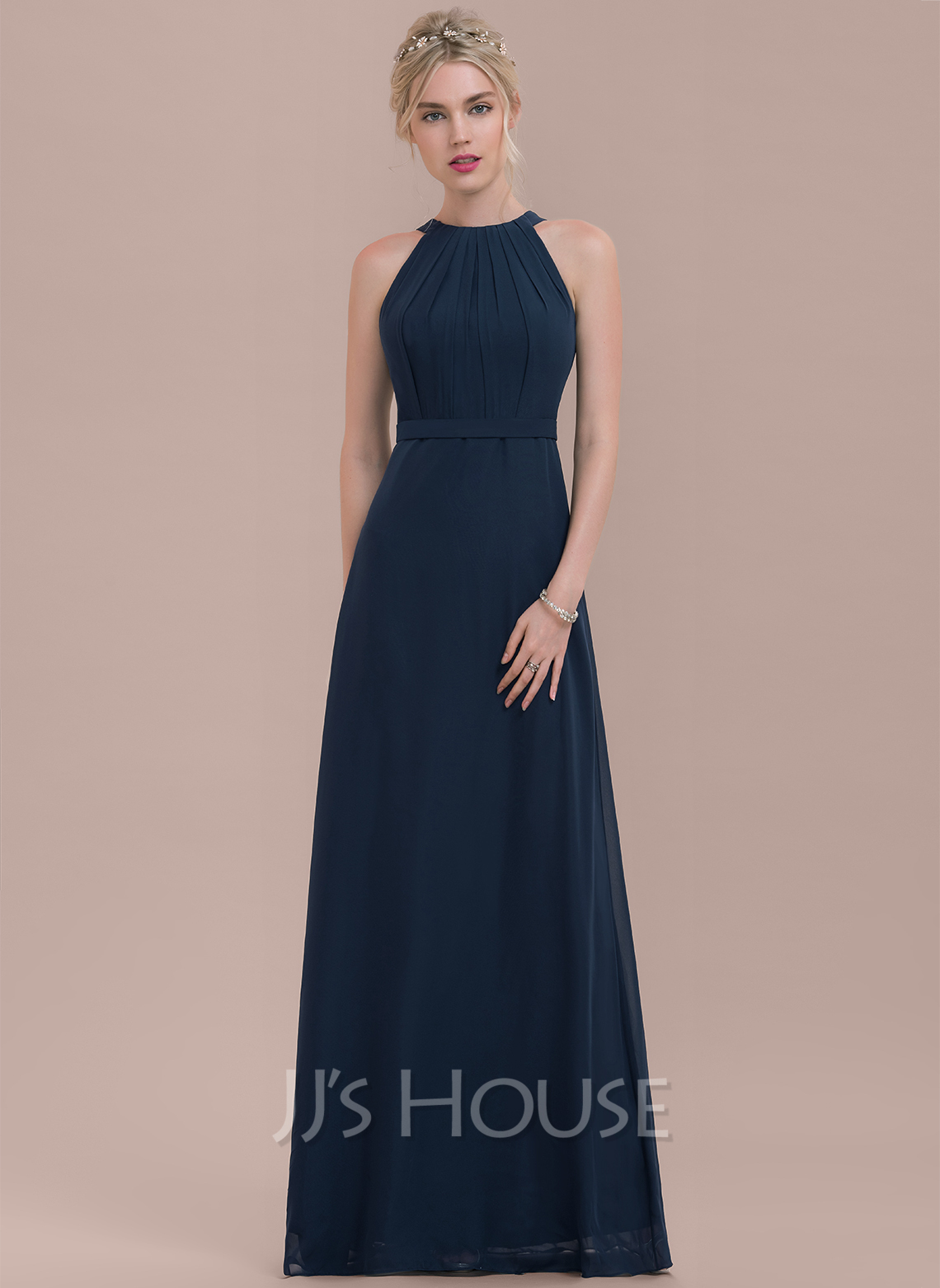 ec5ac462aea A-Line Princess Scoop Neck Floor-Length Chiffon Bridesmaid Dress With  Ruffle. Loading zoom