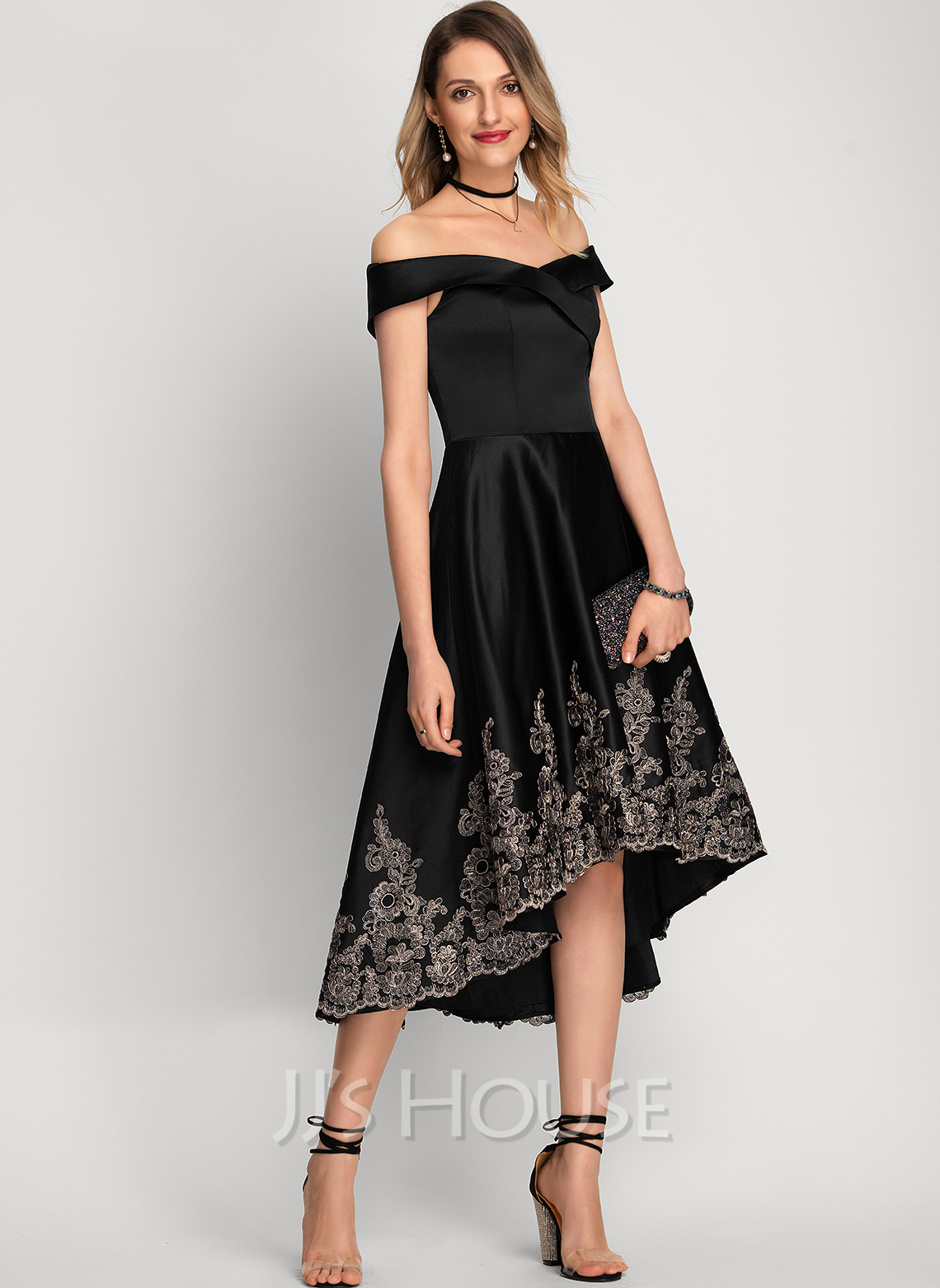 Off-the-Shoulder Asymmetrical Satin Cocktail Dress With Lace