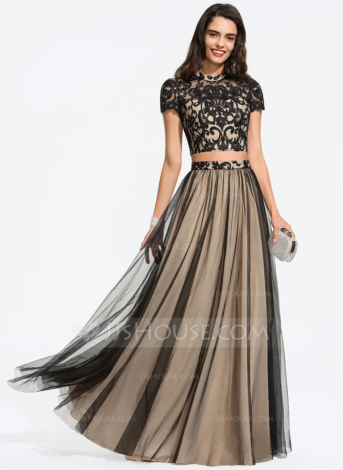 A-Line Scoop Neck Floor-Length Tulle Prom Dresses