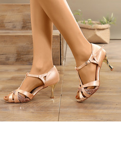 Women's Satin Sparkling Glitter Sandals Latin Modern With Rhinestone Dance Shoes