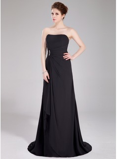 Sweetheart Sweep Train Chiffon Bridesmaid Dress With Beading Cascading Ruffles