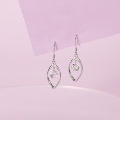 Ladies' Unique 925 Sterling Silver With Diamond Cubic Zirconia Earrings For Bridesmaid/For Friends