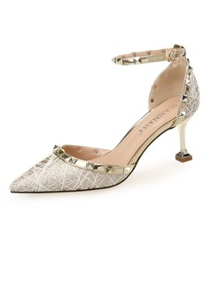 Women's Sparkling Glitter Stiletto Heel Closed Toe Pumps With Lace-up