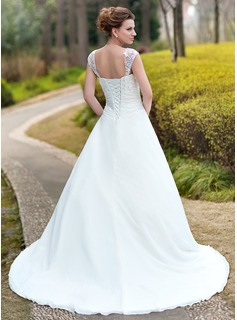 Ball-Gown Sweetheart Chapel Train Chiffon Wedding Dress With Ruffle Lace Beading