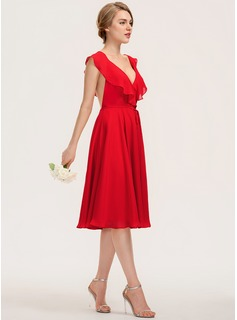 A-Line V-neck Knee-Length Chiffon Homecoming Dress With Bow(s) Cascading Ruffles