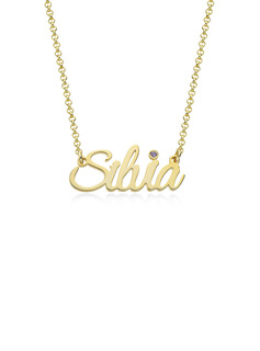 Custom 18k Gold Plated Letter Name Necklace Birthstone Necklace With Birthstone - Birthday Gifts
