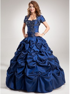 Ball-Gown Sweetheart Floor-Length Taffeta Quinceanera Dress With Ruffle Beading Appliques Lace Sequins