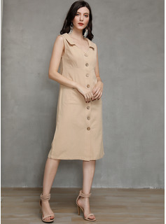 Cotton/Linen With Button/Solid Midi Dress