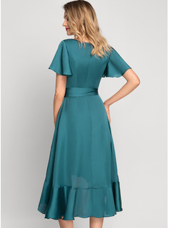A-Line V-neck Asymmetrical Satin Chiffon Cocktail Dress With Bow(s) Cascading Ruffles