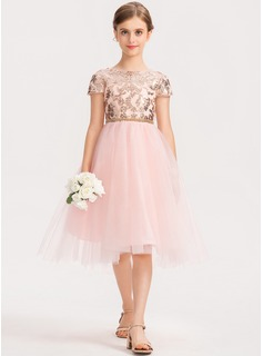 A-Line Scoop Neck Asymmetrical Tulle Junior Bridesmaid Dress With Sequins