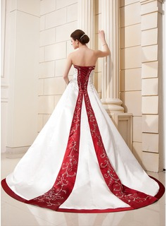 Ball-Gown Sweetheart Chapel Train Satin Wedding Dress With Embroidered Sash Beading Sequins