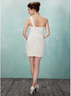 Sheath/Column One-Shoulder Short/Mini Chiffon Lace Homecoming Dress With Ruffle Flower(s)
