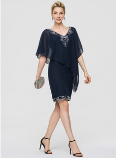 Sheath/Column V-neck Knee-Length Chiffon Cocktail Dress With Sequins