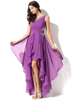 A-Line/Princess One-Shoulder Asymmetrical Chiffon Homecoming Dress With Ruffle Beading Sequins