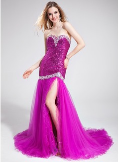 Trumpet/Mermaid Sweetheart Court Train Tulle Sequined Prom Dress With Beading Split Front