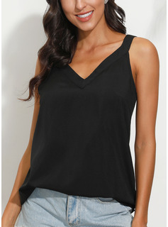 Sleeveless Polyester V Neck Tank Tops Blouses