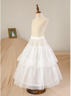 A-Line/Princess Floor-length Flower Girl Dress - Tulle/Lace Sleeveless Scoop Neck With Sash/Beading/Bow(s) (Petticoat NOT included)