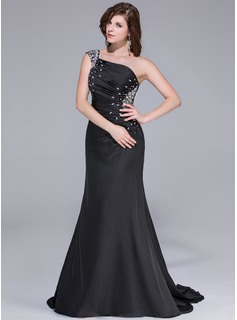 Trumpet/Mermaid One-Shoulder Watteau Train Satin Chiffon Prom Dresses With Ruffle Beading