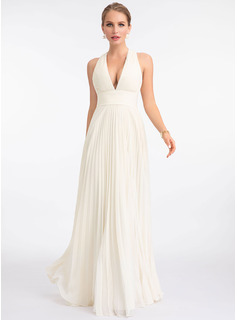 V-neck Floor-Length Chiffon Wedding Dress With Pleated