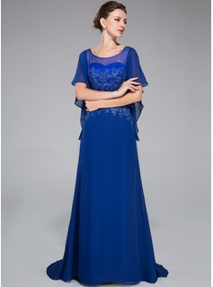 Trumpet/Mermaid Scoop Neck Sweep Train Chiffon Evening Dress With Lace Beading Sequins