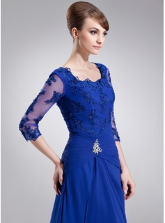 A-Line/Princess Square Neckline Sweep Train Chiffon Mother of the Bride Dress With Ruffle Beading Appliques Lace
